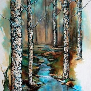 Painting about a forest stream