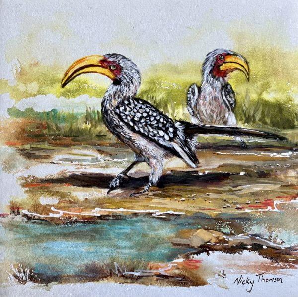 2 Yellow-Billed Hornbills Painting