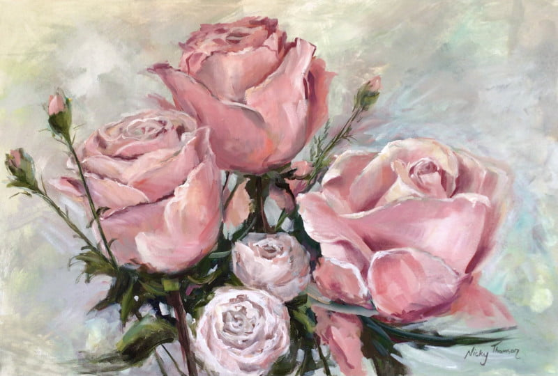 Painting about Pink Roses