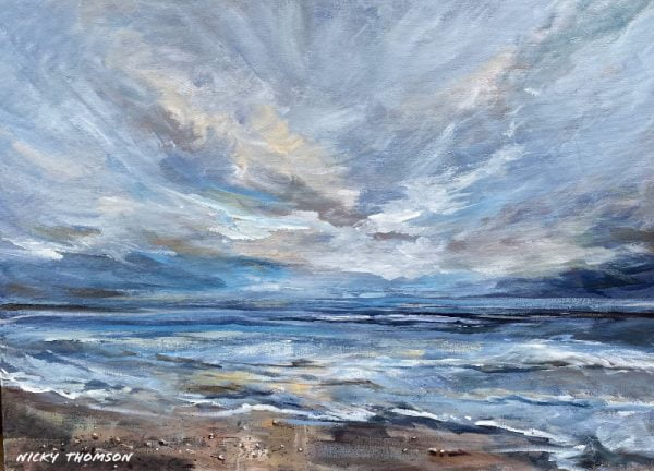 Painting about an blue ocean seascape