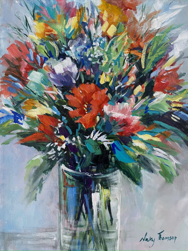 Painting about a vase of flowers