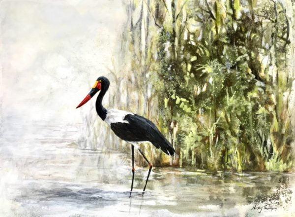 Saddle - Billed Stork Painting