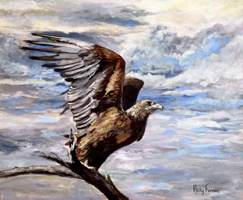 Painting about a Steppe Eagle